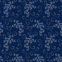 Dotted Leaf & Scroll - NAVY