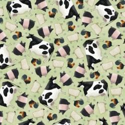 Tossed Farm Animals - LT GREEN
