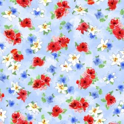 Tossed Watercolour Floral - BLUE