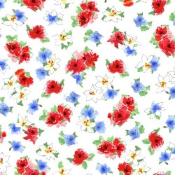 Tossed Watercolour Floral - WHITE