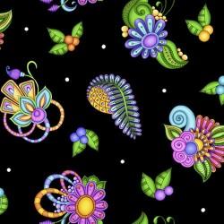 Paisley & Floral Toss - BLACK