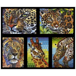Mosaic Animals Panel (90cm) - BLACK