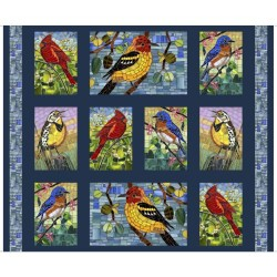 Mosaic Birds Panel (90cm) - NAVY
