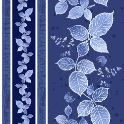 Leaves Decorative Stripe - NAVY