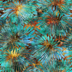 Large Floral 130/70 Weave - ORANGE/TURQUOISE