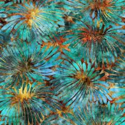 Large Floral 130/70 Weave - ORANGE/TURQUOISE