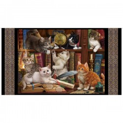 Panel - Literary Kittens 60cm - BLACK