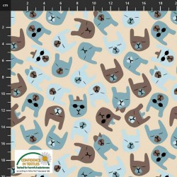 Avalana Jersey Organic 160cm Wide Animal Faces - NATURAL