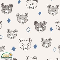 Avalana Sweat Brushed 160cm Wide Bears - CREAM