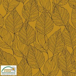 Avalana Sweat Brushed 160cm Wide Leaves - MUSTARD
