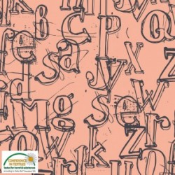 Avalana Sweat NonBrushed -Alphabets- 160cm wide