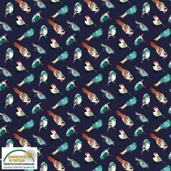 Avalana Jersey 160cm Wide Birds - NAVY