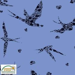 Avalana Jersey 160cm Wide Birds - BLUE