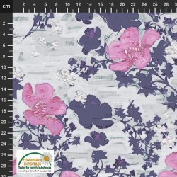 Avalana Jersey 160cm Wide Bell Sketched Flowers - NATURAL