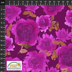 Avalana Jersey 160cm Wide Bell Large Roses - PURPLE