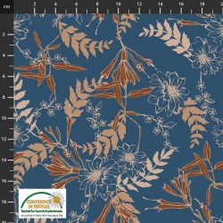 Avalana Jersey 160cm Wide Flowers and Leaves - BLUE