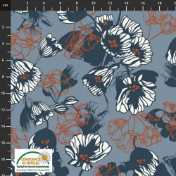 Avalana Jersey 160cm Wide Flowers - BLUE