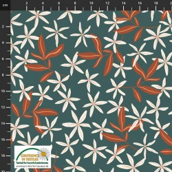 Avalana Jersey 160cm Wide Flowers - GREEN