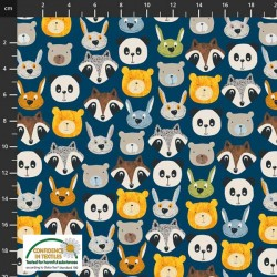 Avalana Jersey 160cm Wide Animal Faces - BLUE