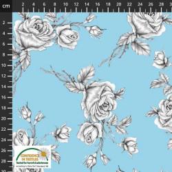 Avalana Sweat 150cm NonBrushed Roses - BLUE