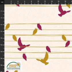 Avalana Sweat 150cm NonBrushed Birds On Wire - BEIGE