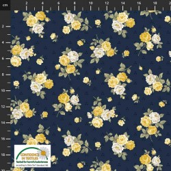 Tossed Small Flowers  - NAVY