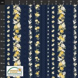 Trellis Flowers - NAVY