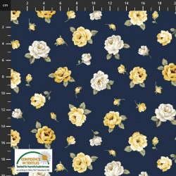 Tossed Medium Flowers - NAVY