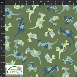 Tossed Baby Dinosaurs - DK GREEN