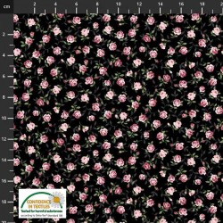 Tossed Small Roses - BLACK