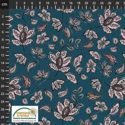 Avalana Cotton Poplin 150cm Wide Flowers - DK BLUE