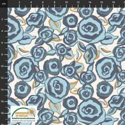 Avalana Cotton Poplin 150cm Sketched Flowers - NATURAL