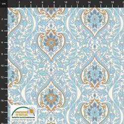 Avalana Cotton Poplin 150cm Wide Leaf Shapes - LT BLUE