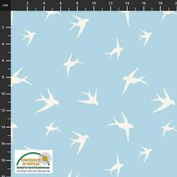 Avalana Cotton Poplin 150cm Wide Birds - LT BLUE