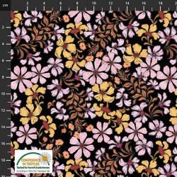 Avalana Cotton Poplin 150cm Wide Flowers - BLACK