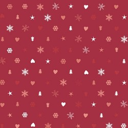 Snowflakes, Hearts & Trees - RED