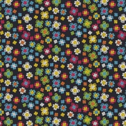 STITCHED FLOWERS - BLACK