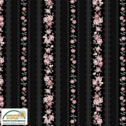 Small wallpaper stripe dusky pink on black