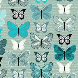 Butterflies on Text - TEAL