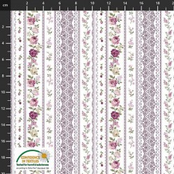 Flower Stripes - WHITE/MAUVE