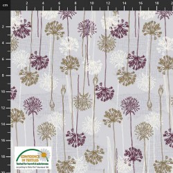 Flowers and Roots - LT GREY/BURGUNDY