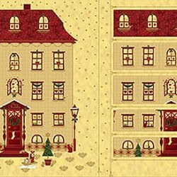 House Advent Calendar Panel (60cm) - GOLD/RED