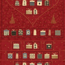 Heart Advent Calender Panel (60cm) - RED/GOLD