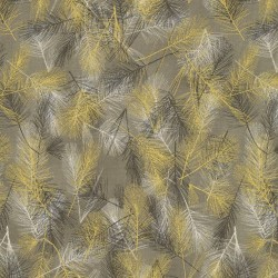 PINE BRANCHES - TAUPE/GOLD