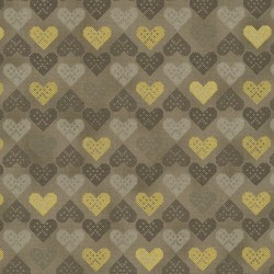 HEARTS - TAUPE/GOLD