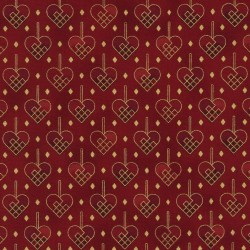 PATCHWORK HEARTS - RED/GOLD