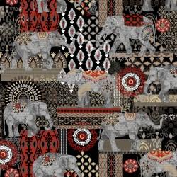 Caravan Elephant Suzani - BLACK