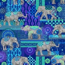 Caravan Elephant Suzani - BLUE