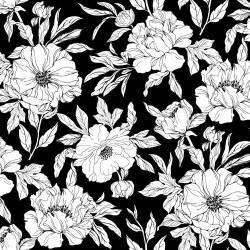 Drawn Tossed Florals - BLACK
