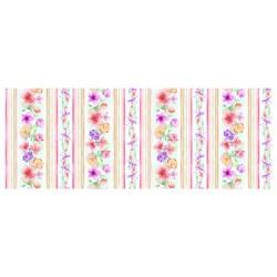 Spring Watercolour Floral Stripe - WHITE